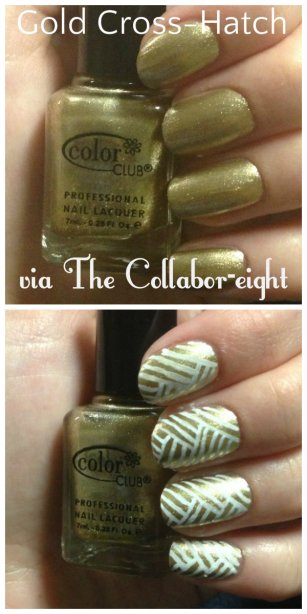 Manicure Monday: Golden Cross-Hatch via The Collabor-eight