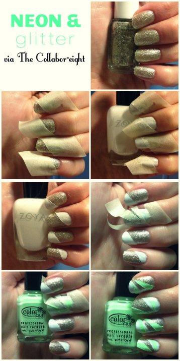 Manicure Monday: Neon & Glitter via The Collabor-eight